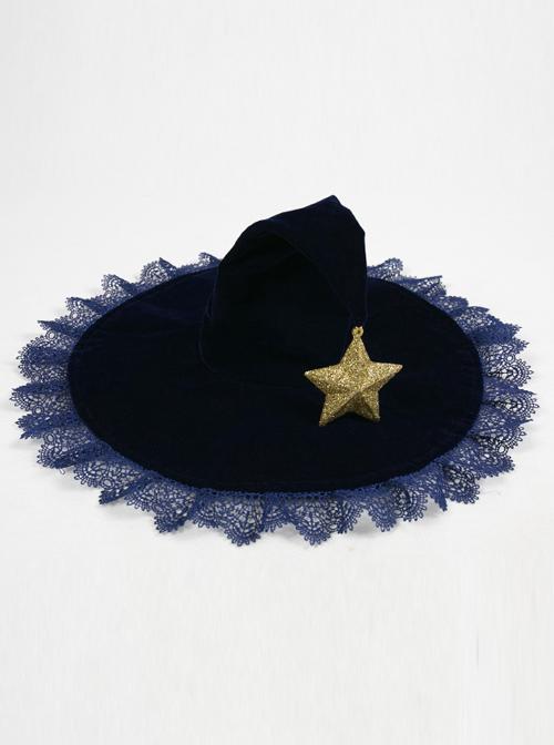 Velveteen Stars Lace Halloween Gothic Lolita Witch Hat