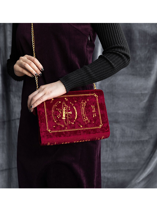Stars And Moon Series Books Shape Classic Lolita Suede Blue Or Red Aslant Bag