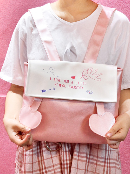 Pink And White Cute Cupid Printing Sweet Lolita Backpack