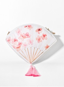 White Peach Blossom Fan Shaped Chinese Style Tassel Pendant Lolita Aslant Bag