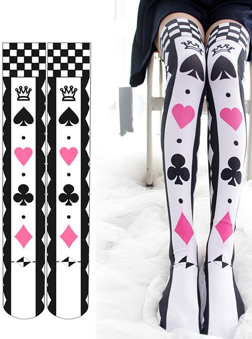 Poker Cards Printing Sweet Lolita Stockings