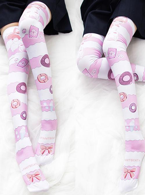 Little Fox Fairy's Donut Series Printing Stripes Sweet Lolita Knee-length Stockings