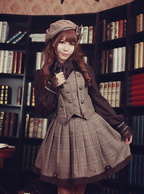 Baker Street Dense Fog Series Brown Bowknot Detective Style Lolita Pumpkin Hat