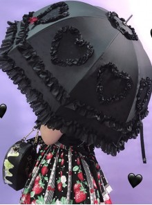 Multicolor Lace Love-heart Sweet Lolita Long Handle Umbrella