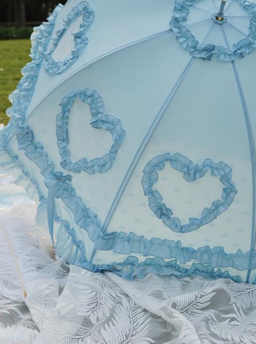 Multicolor Lace Love-heart Sweet Lolita Long Handle Umbrella
