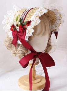 The Tea Party Elegant Multilayer Lace Straw Hat Classic Lolita Bonnet