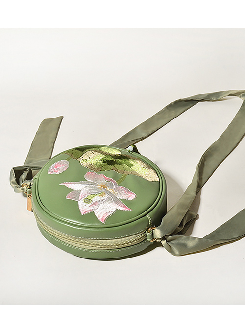 Lotus Embroidery Tassel Chinese Style Qi Lolita Green Shoulder Bag