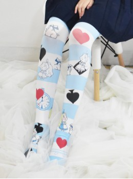 Cute Alice Blue And White Stripes Sweet Lolita Knee-crossing Stockings