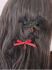 Bat Devil Halloween Black Wings Gothic Lolita Hairpin