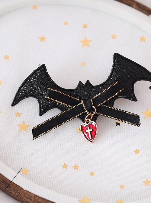 Bat Devil Halloween Black Wings Gothic Lolita Hairpin