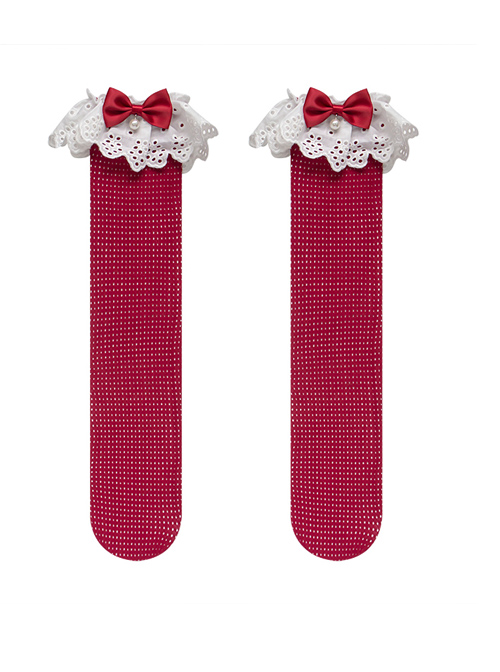 Embroidered Cotton Lace Bowknot Nail Bead Sweet Lolita Mid Stockings