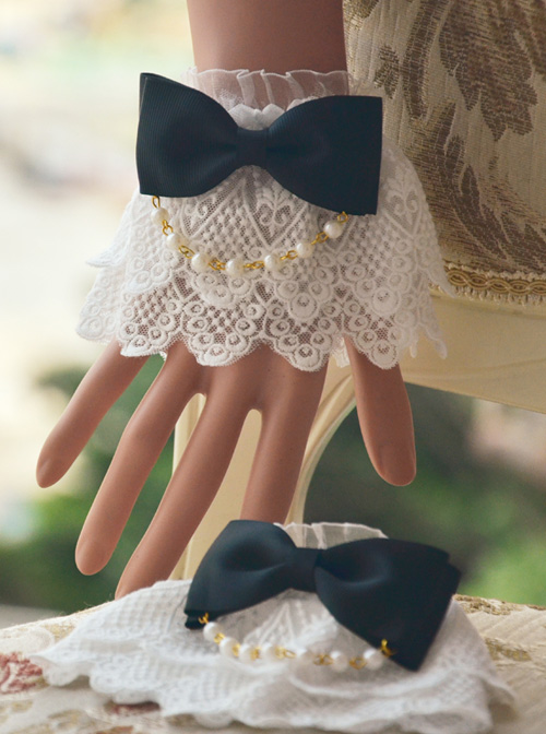 Bead Chain Bowknot Double Layer Lace Sweet Lolita Multicolor Hand Sleeves