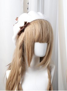 Bowknot Ribbon Wavy Pattern Hat Classic Lolita Autumn Winter Beret