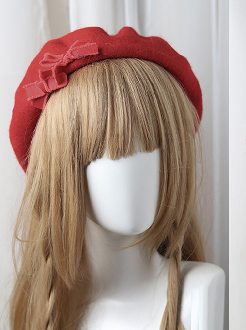 Bowknot Ribbon Wavy Pattern Hat Classic Lolita Autumn Winter Beret