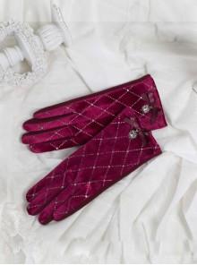 Gold Velvet Retro Elegant Rhinestone Bowknot Classic Lolita Touch Screen Gloves