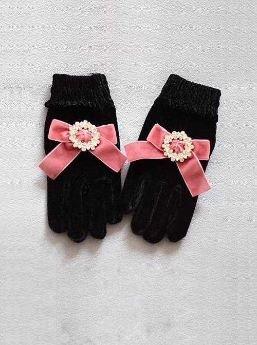 Round Rhinestone Gemstone Vintage Velvet Big Bowknot Classic Lolita Gloves