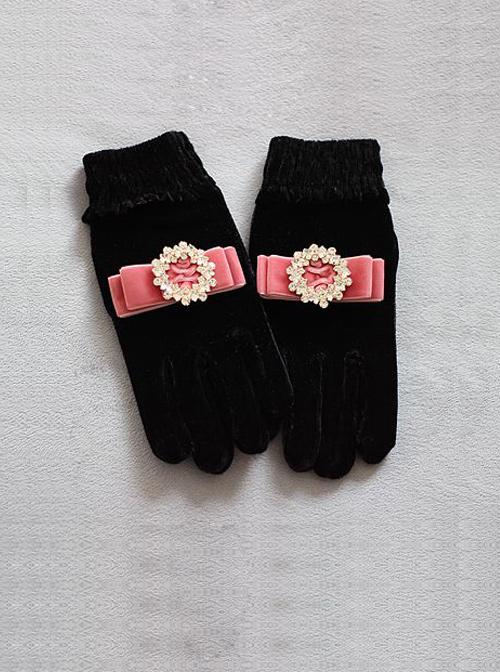 Round Rhinestone Retro Small Bowknot Classic Lolita Velvet Gloves