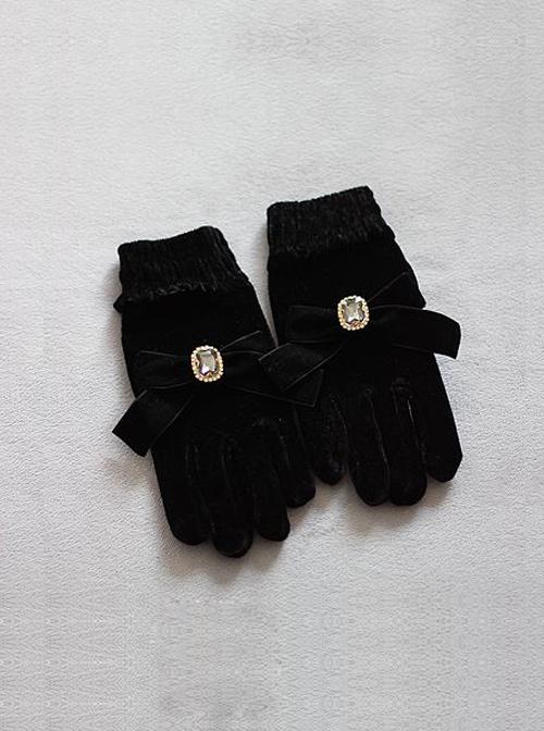 Square Rhinestone Retro Big Bowknot Classic Lolita Velvet Gloves