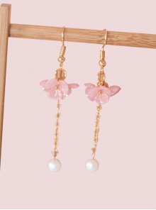 Flowers Cluster Series Pearl Tassel Sweet Lolita Earrings