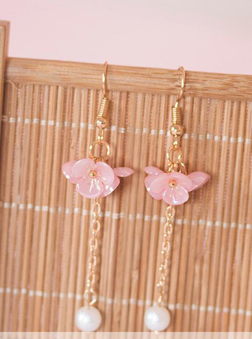 Flowers Cluster Series Pearl Tassel Sweet Lolita Earrings