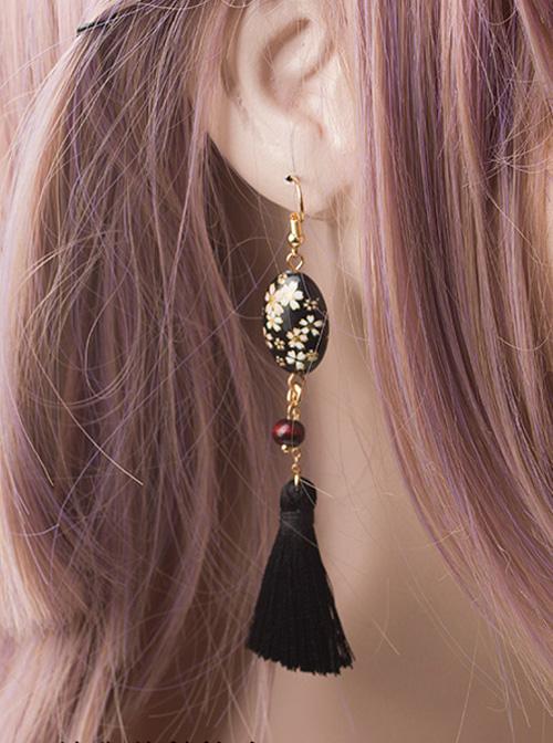 Cherry Blossom Hand-painted Ukiyo Series Tassel Japanese Style Lolita Earrings