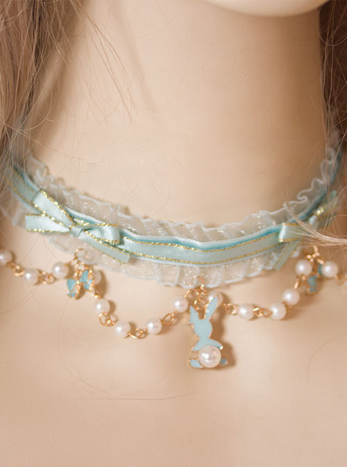 Rabbit Tea Party Series Peppermint Green Bowknot Pearl Sweet Lolita Short Necklace