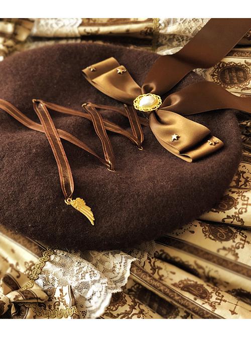 Tiramisu Band Bear Series Cute Bowknot Brown Hat Sweet Lolita Beret
