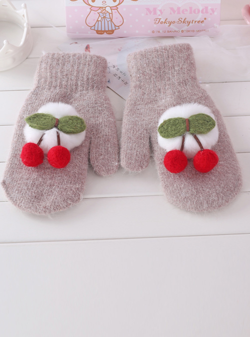 Cherry Plush Ball Rabbit-hair Knit Sweet Lolita Total Finger Gloves