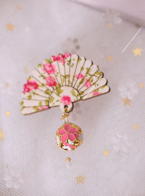 Small Bell Pendant Chinese Style Fan-shaped Sweet Lolita Hairpin