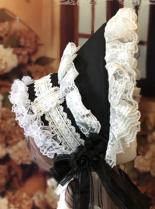 Rose Bowknot White Lace Elegant Classic Lolita Bonnet