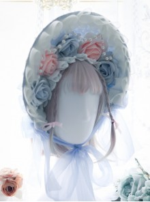 White Feather Blue Yarn Bowknot Classic Lolita Bonnet