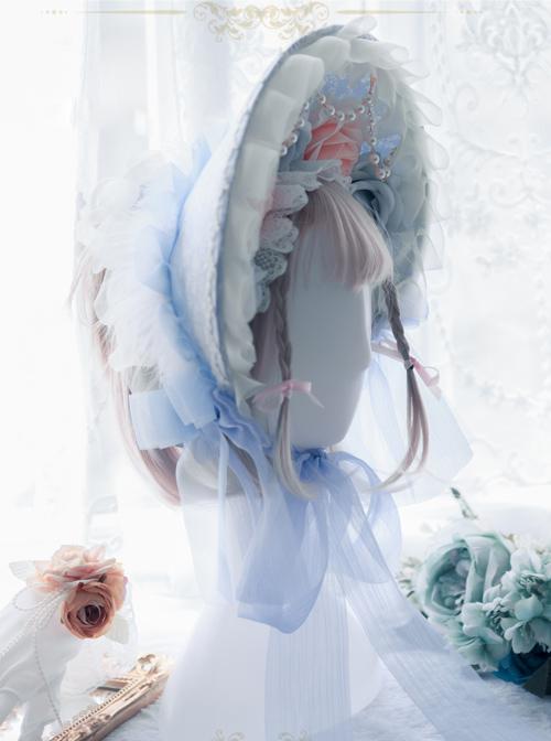 White Feather Blue Yarn Bowknot Classic Lolita Bonnet
