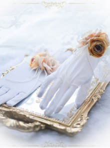 Bead Chain Elegant Rose White Classic Lolita Gloves