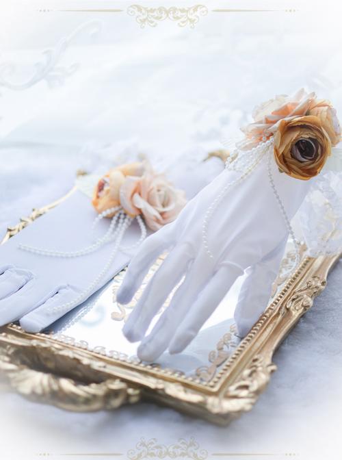 Bead Chain Elegant Rose White Classic Lolita Gloves