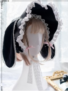 White Lace Black Rabbit Ears Cute Gothic Lolita Bonnet