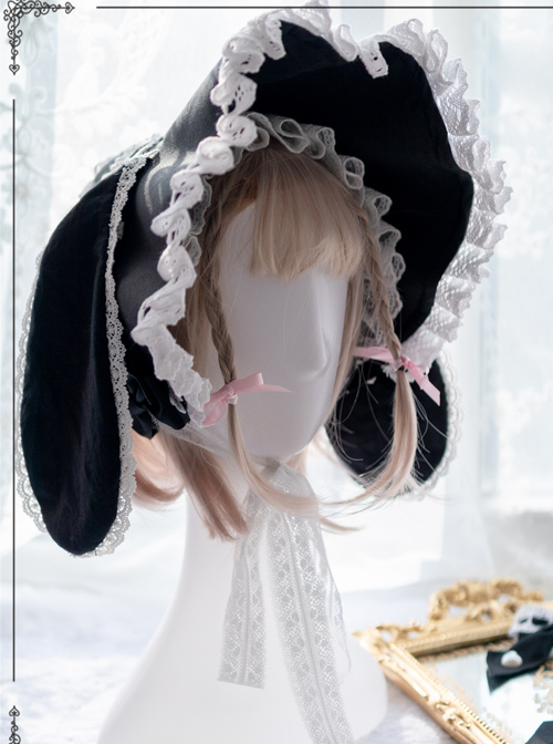 White Lace Black Rabbit Ears Cute Gothic Lolita Bonnet