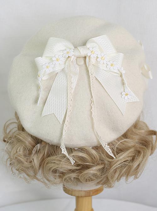 Mori Style Daisy Lace Bowknot Beige Beret Classic Lolita Hat