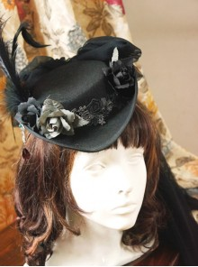 *Lady In Black* Series Retro Wool Gothic Lolita Feather Top Hat