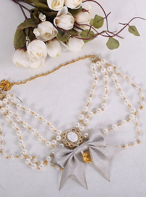Anthony Cake Series Bowknot White Pearl Elegant Classic Lolita Necklace