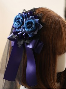 Black Lace Blue Rose Elegant Gothic Lolita Hair Clip