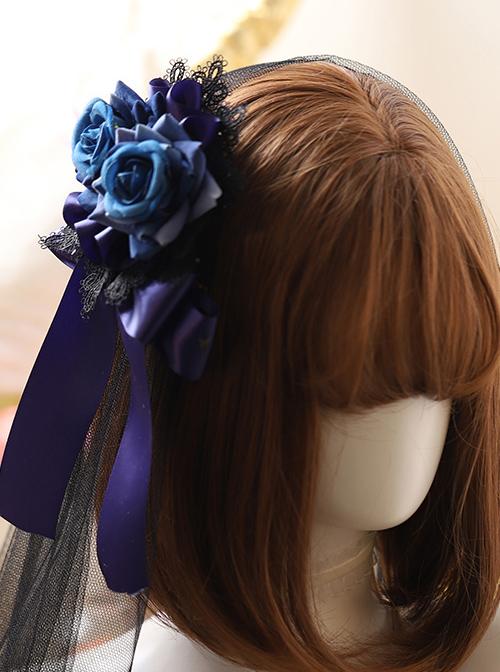 Black Lace Blue Rose Elegant Gothic Lolita Hair Clip