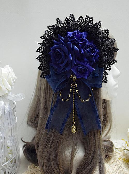 Blue Rose Lace Exquisite Chain Pendant Elegant Gothic Lolita Hair Clip