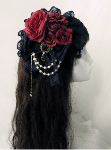 Multicolor Rose Lace Bead Chain Elegant Gothic Lolita Hair Clip
