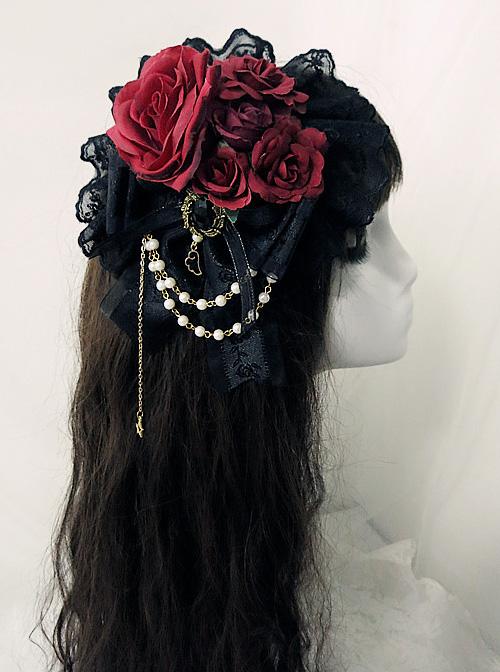 Multicolor Rose Lace Bead Chain Elegant Gothic Lolita Hair Clip