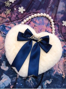 Multicolor Bowknot Heart-shape Pearl Chain Sweet Lolita Plush Handbag