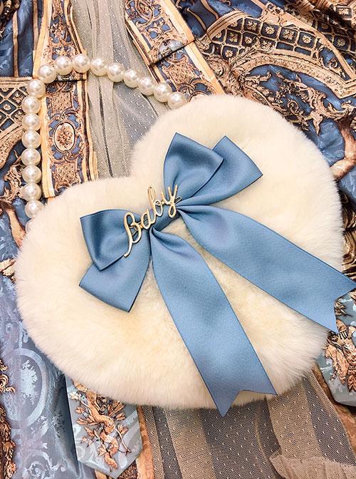 Multicolor Bowknot Heart-shape Pearl Chain Sweet Lolita Plush Handbag