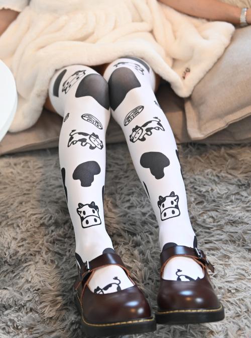 Cute Milk Cow Printing Black And White Spots Printing Sweet Lolita Stockings