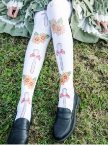 Pastoral Style Sunflower Printing Sweet Lolita Stockings