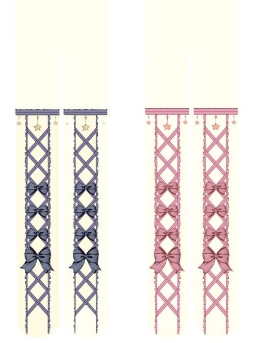 Blue Or Pink Bowknot Printing Apricot Sweet Lolita Pantyhose
