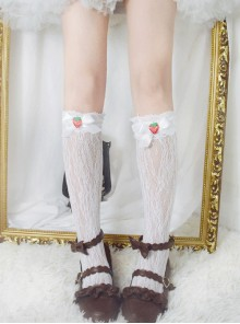 Bowknot Strawberry Cute Lace Sweet Lolita Long Socks